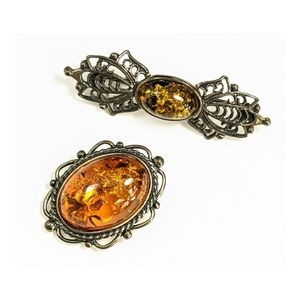 Two vintage Amber sterling filigree brooches